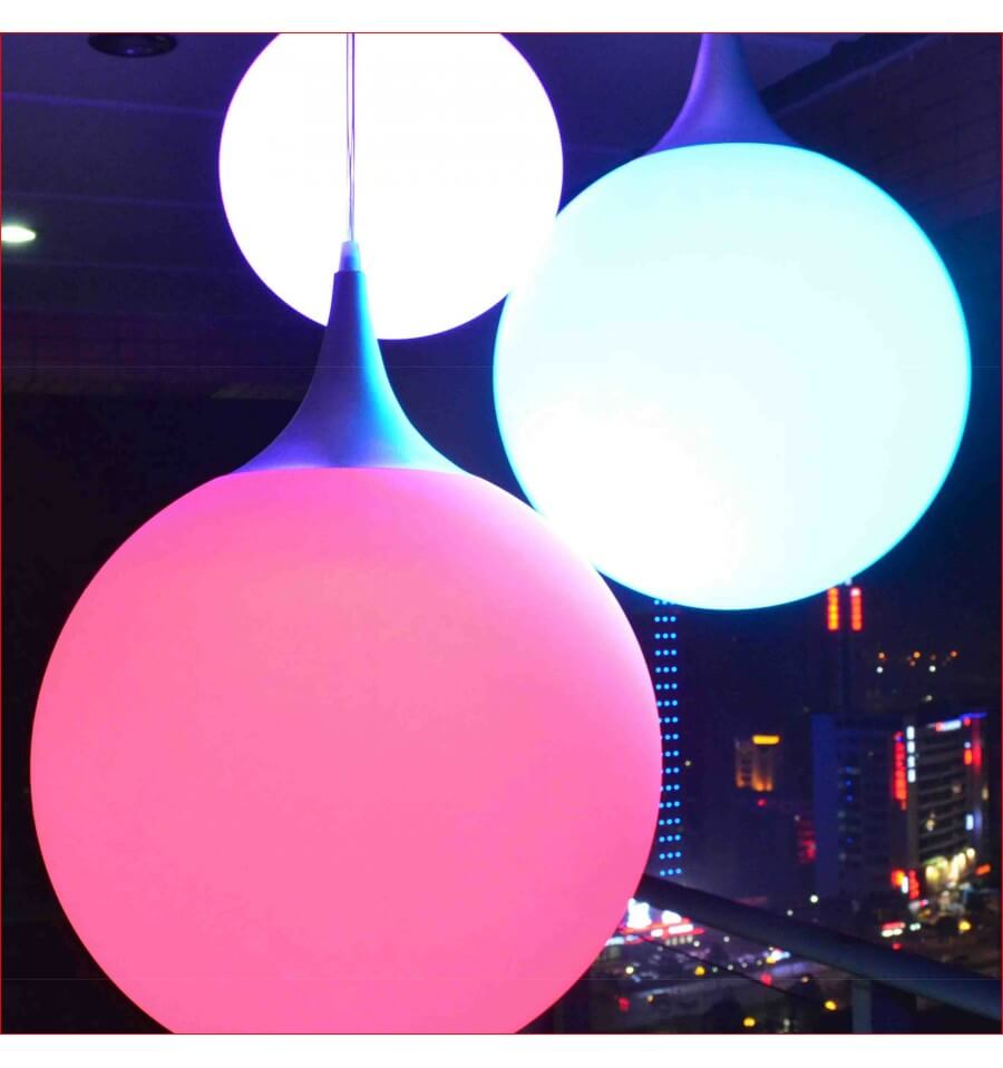 Led pendant light ball 35cm multicoloured kosilight for Suspension led exterieur
