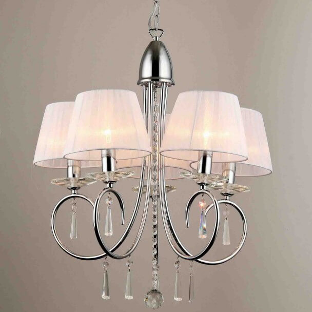 Pendant light/chandelier - baroque crystal/chrome 5 Light Lumyse