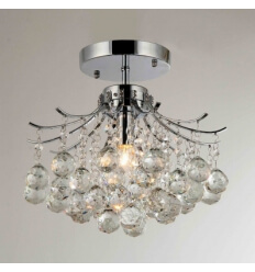 Ceiling light - crystal + chrome design Ulysse