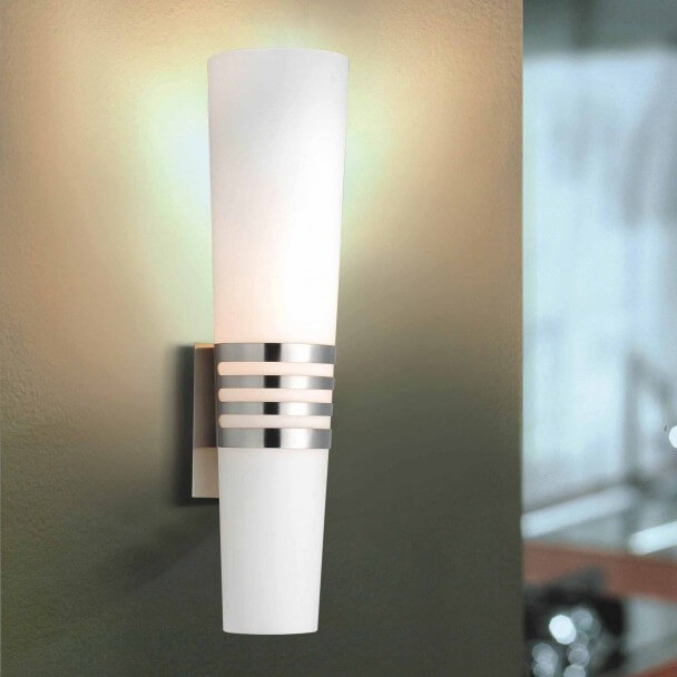 Wall light - design glass and metal cylinder