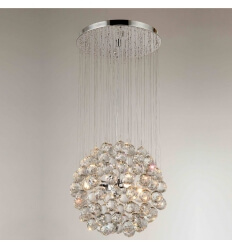 Chandelier - crystal/chrome design Odin H70cm