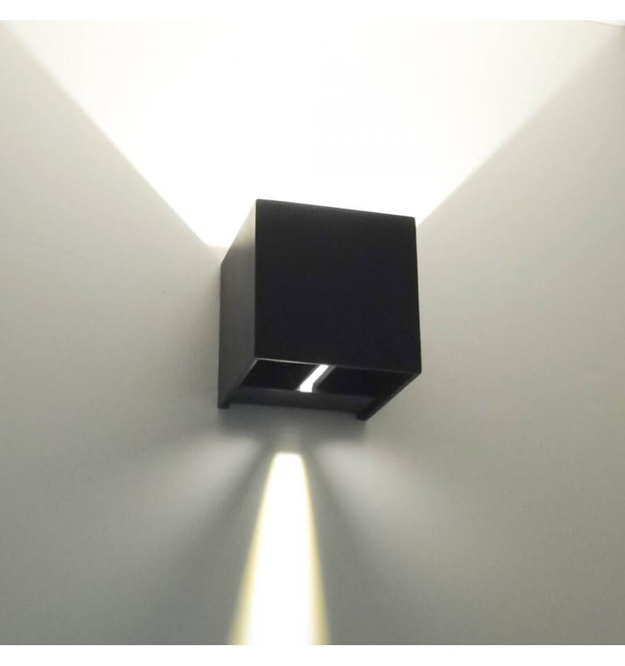 Wall light black led design cubic for Luminaire mural exterieur led