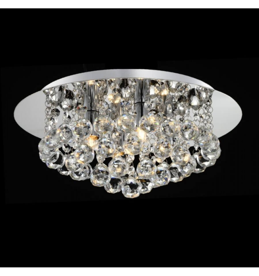 Flushmount ceiling light crystal 30 aurora kosilight for Lustre pas cher pour salon