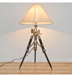 Floor lamp - tripod chrome wood Marine