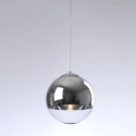 Pendant light - design globe chrome/transparent glass Globe