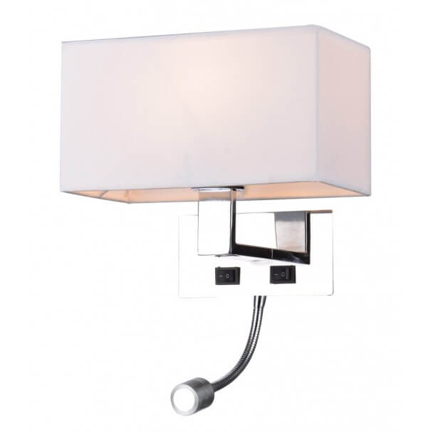 Wall light/Reading LED lamp design metal/fabric (E27+LED) - Collection Adonis