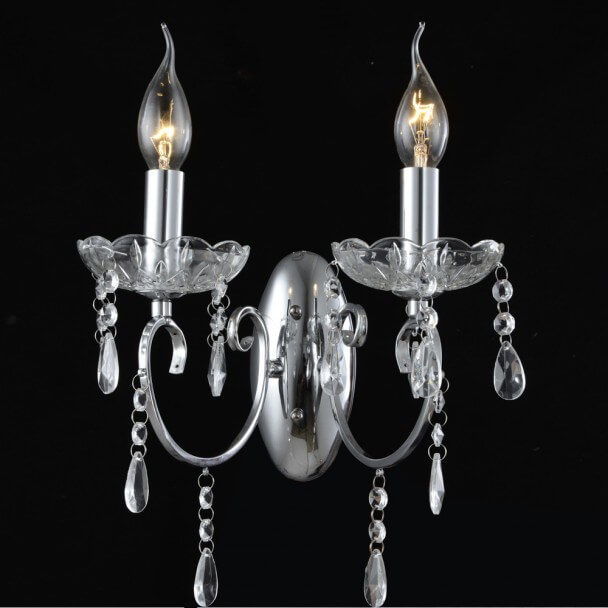 Wall light - 2 Light crystal baroque with Pendant silver - Pavia