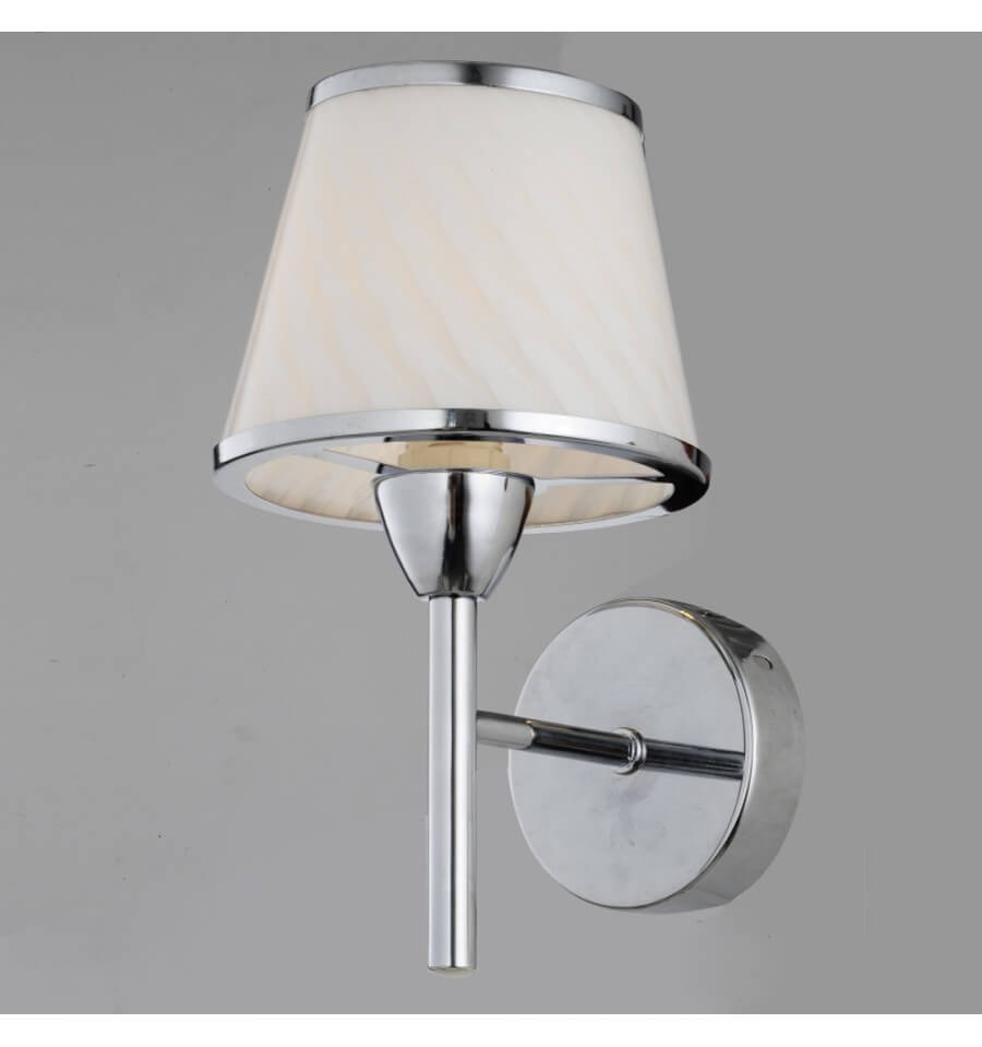Chrome Internal Wall Lights : Wall light - lampshade glass beige whitened chrome