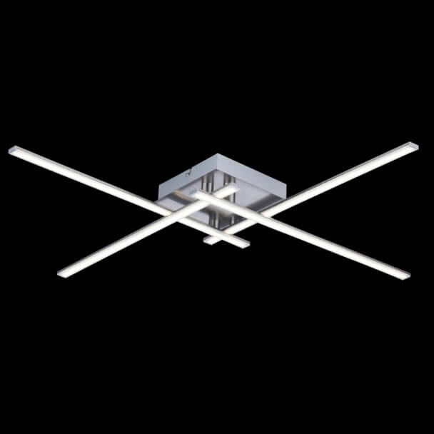 Ceiling light - design LED chromed 4 Light square - Yuna