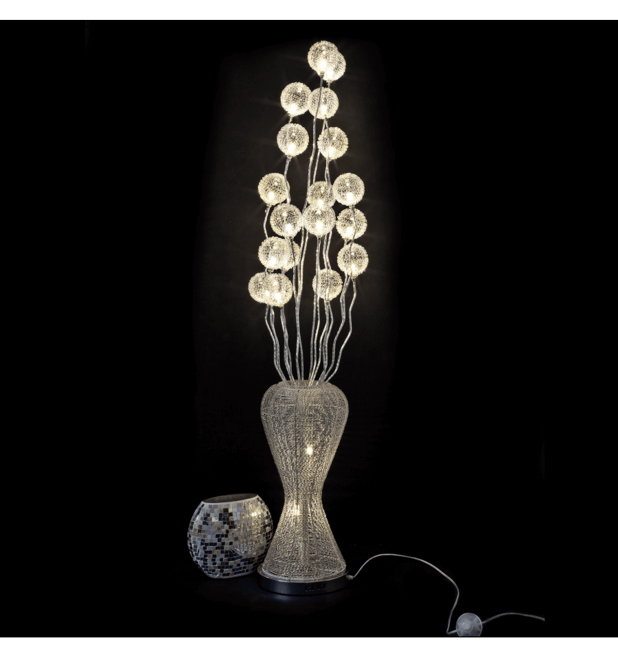 Large aluminum led lamp flower vase barbara for Large flower floor lamp