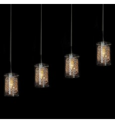 4 Cylindrical Glass Pendant Light - Camelia