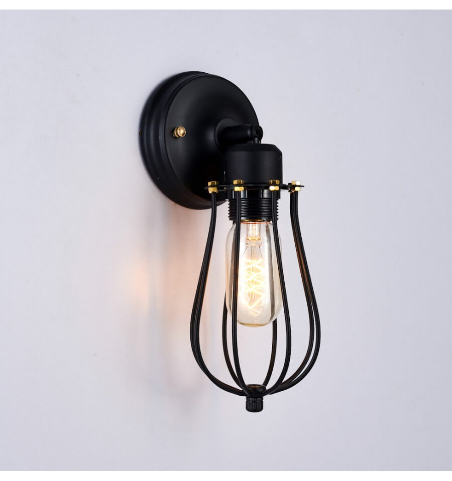 Black Retro Wall Lights : Industrial wall light with black cage - Velen KosiLight