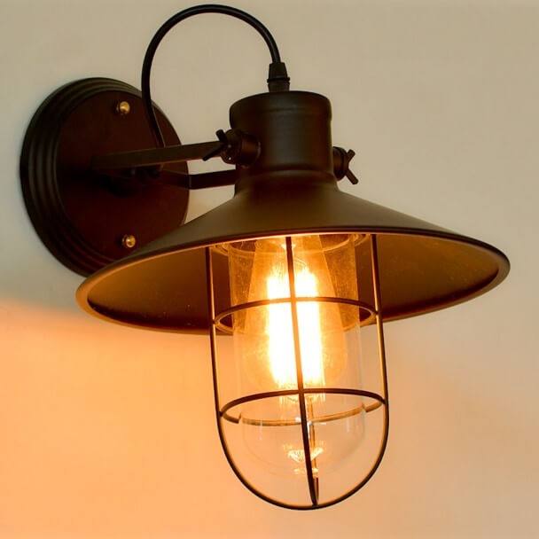 Vintage Wall Light with Black Wire Cage - Selena