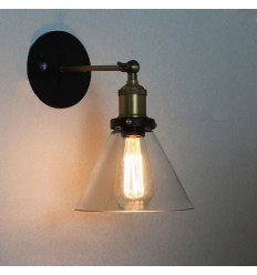 Loft Wall Light with Conical Glass Shade - Liva