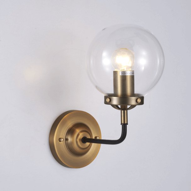 Gold Industrial Wall Lights : Gold retro lounge wall light with clear glass - Zenith KosiLight