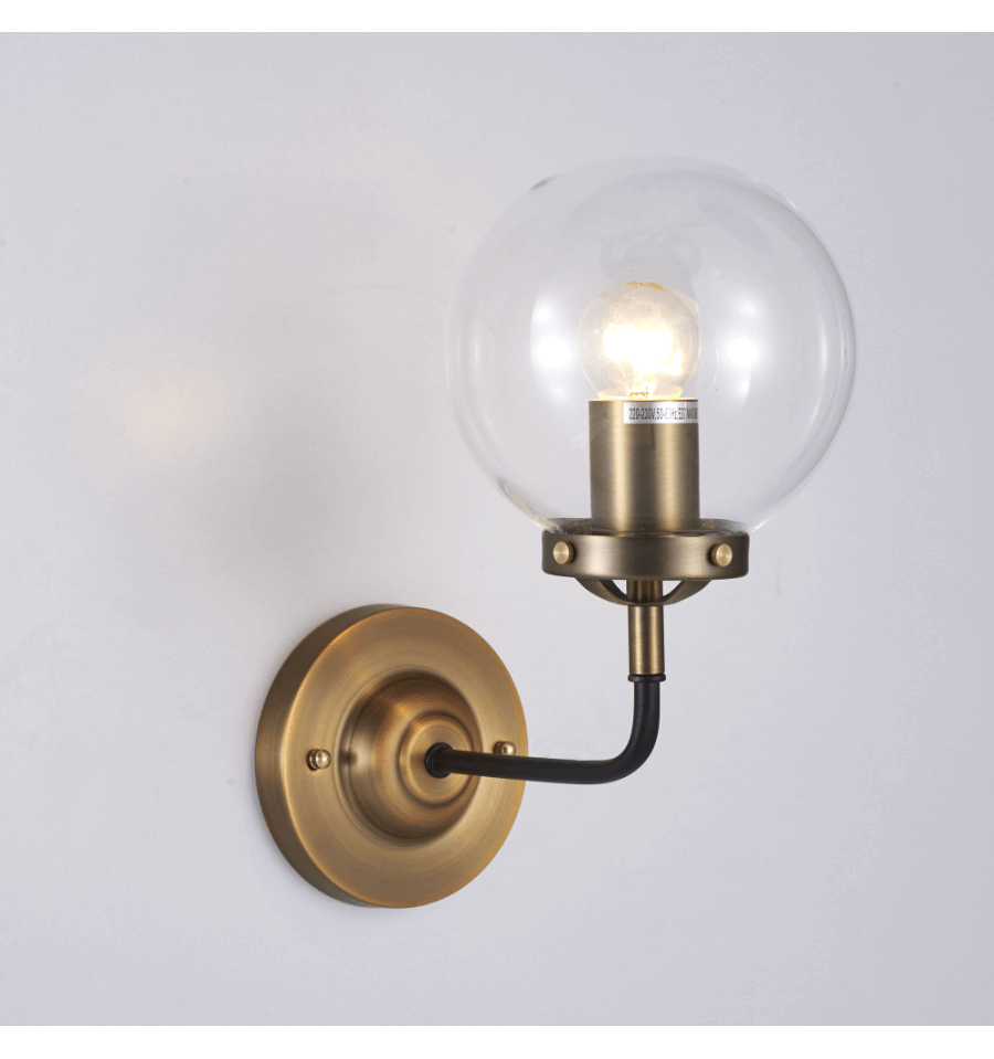 Gold retro lounge wall light with clear glass zenith for Transparent glass wall