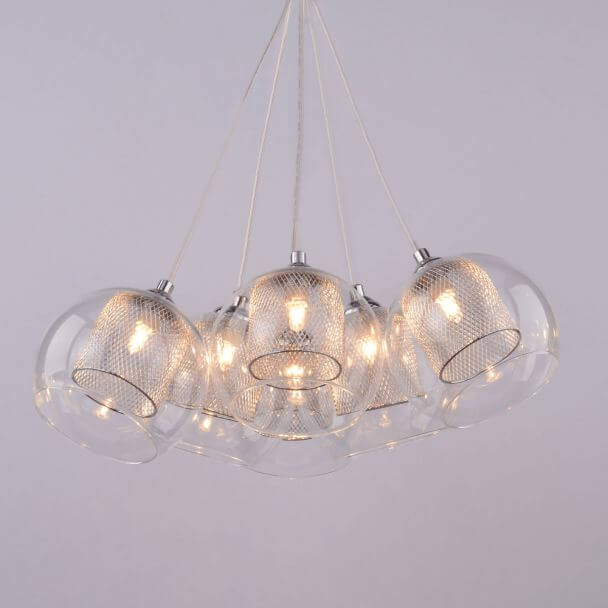Pendant light design 6 transparent glass balls - Dahlia