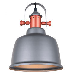 Modern Industrial Pendant Light with Grey Shade - Dalia
