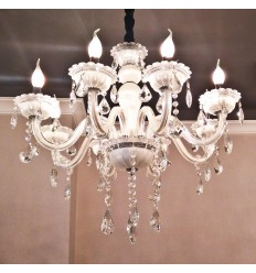 Pendant light crystal white 8 lights - Roma