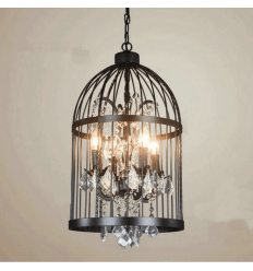 Vintage Chandelier with Black Birdcage - Amary