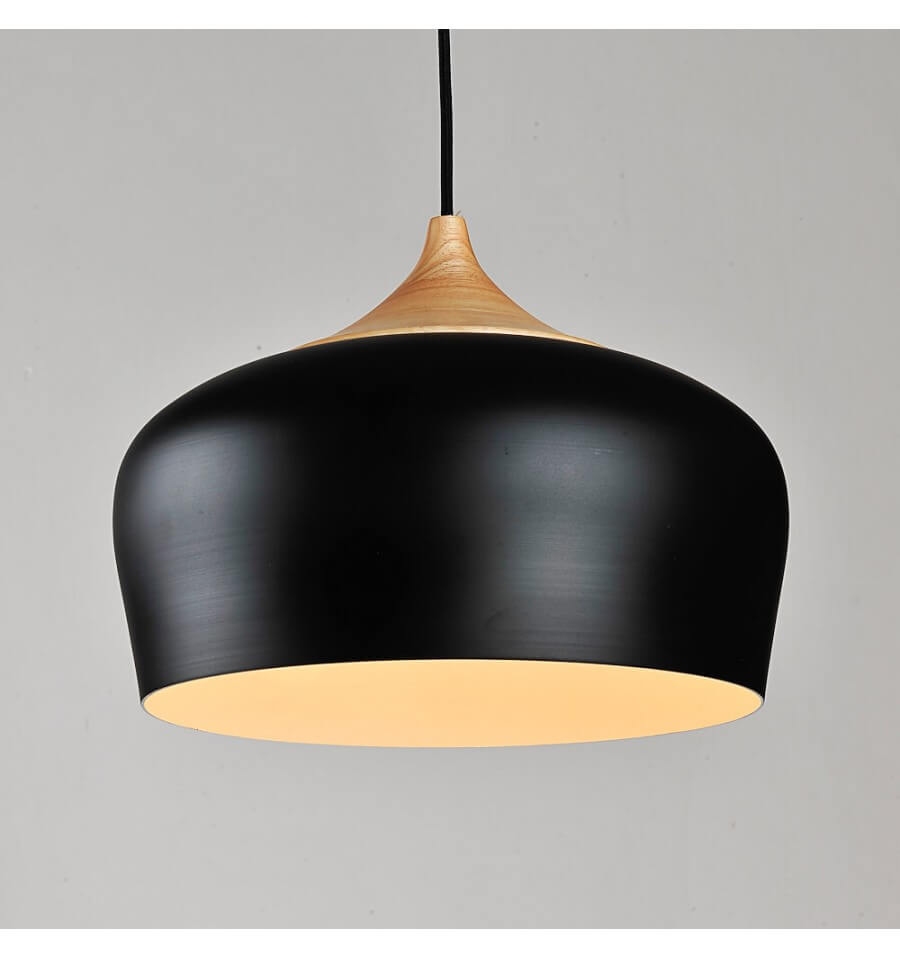 Modern industrial pendant light made of wood and black for Suspension metal noir