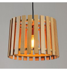 Modern Pendant Light with Shade Made of Wood Slats - Aeda