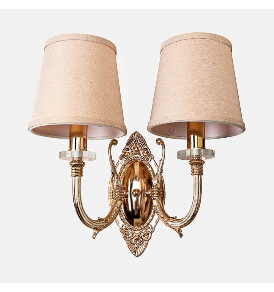 retro gold double wall light with cream fabric shades nancy. Black Bedroom Furniture Sets. Home Design Ideas