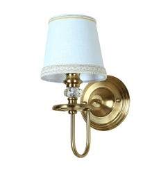Retro Bronze Wall Light with White Shade - Fadia