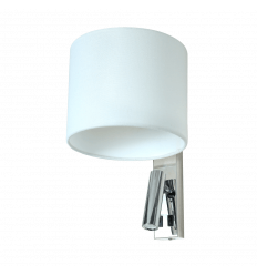 Conical Wall Mounted Reading Light Chrome and Fabric - Symetra