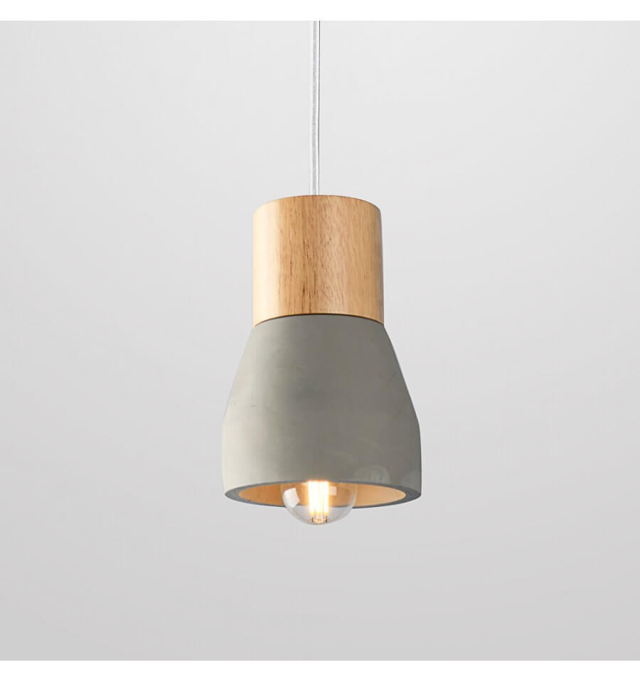 Scandinavian pendant light made of grey concrete light for Luminaire suspension blanc