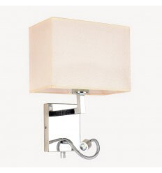 Wall Mounted Reading Light made of Chrome and Linen - Alasie