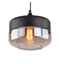 Metal & Glass Pendant Light - Amber