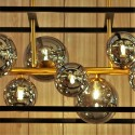 Large cage pendant light with smoked glass spheres - Titan