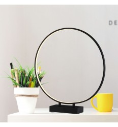 Large black ring LED lamp with touch switch - Penelope