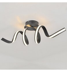 Black LED curl ribbon style wall light - Kauai