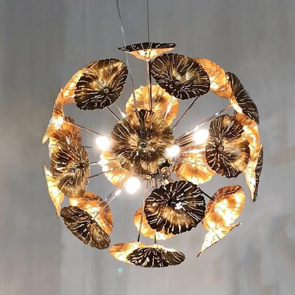 Gold bindweed pendant light - Aion