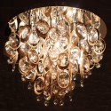Ceiling light with multiple copper rings and crystal pendants - Exeter