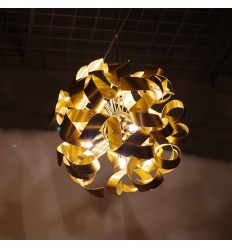 Gold ribbons pendant light loops - Acorn