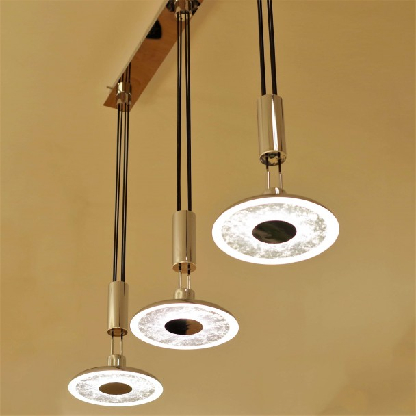 Industrial pendant light with three LED discs - Misti