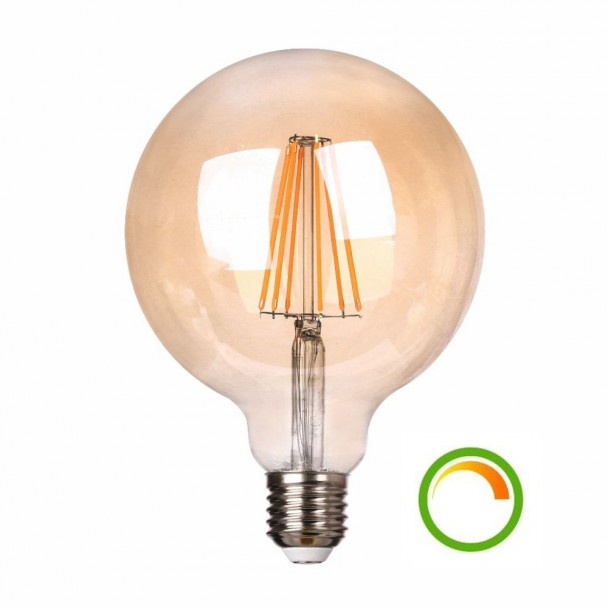 Large round LED filament bulb E27 8W