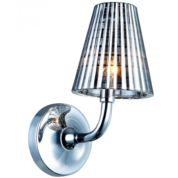 Old school glass and stainless steel wall light - Qom