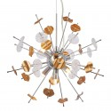 Spiky chromed metal pendant light with golden elements - Cixi
