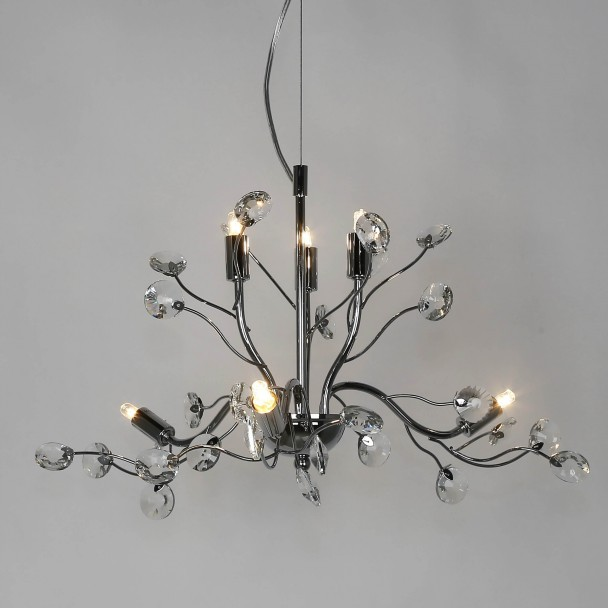 Chrome and glass leafy pendant light - Grace