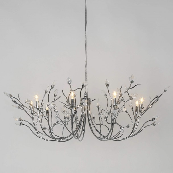 Delicate chrome and glass leafy chandelier - Raaz