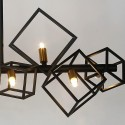 Black-ridged cubic metal pendant light - Hypercubus