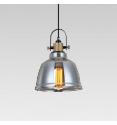 Smoked glass industrial pendant lamp - Kalinka