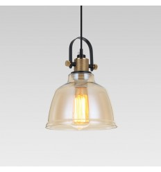 Amber glass industrial pendant lamp - Kalinka