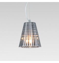 Glass pleated pendant light with see-through cord - Qom