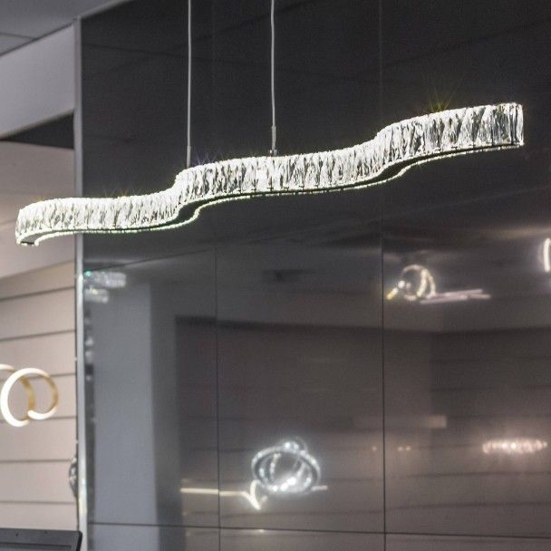 Pendant light - LED design long wavy bar crystal - Onda