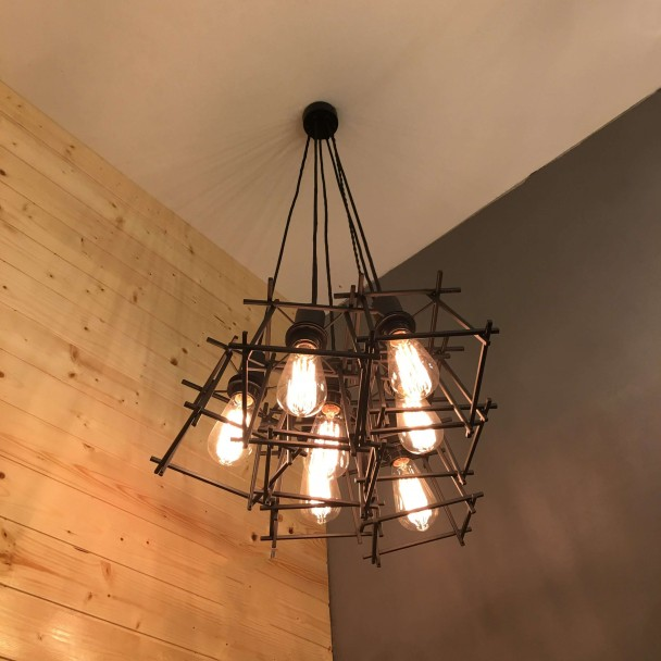 Customisable industrial chandelier with cages - Area